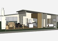 Section of 3D model showing interior furniture details
