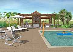 Exterior landscaping can also be done in 3D