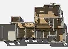 3D floor plan showing interior walls