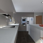 Photorealistic render of kitchen